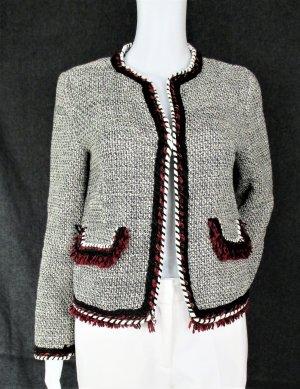 Tweed Jacke mit Fransen, Borten und Kanten /Schwarz, Creme, Rot/ Gr.S /HERVORRAGEND!