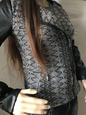 Tweed Jacke mit Kunstleder Ärmeln
