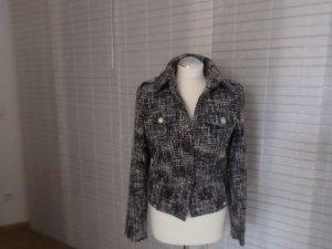 Tweed-Jacke von Lisa Tossa, Schwarz-weiß-grau,  Jeansjacken-Schnitt