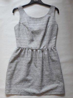 Tweed Kleid in grau Skaterkleid Kleid Trägerkleid mit weitem Rock & Schleifen im Rücken Gr. 36, Neu