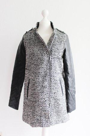 Tweed-Mantel mit Kunstlederärmeln, grau/schwarz