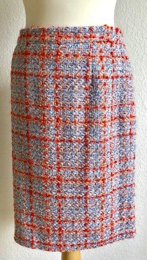 Madeleine Tweed rok lichtblauw-rood