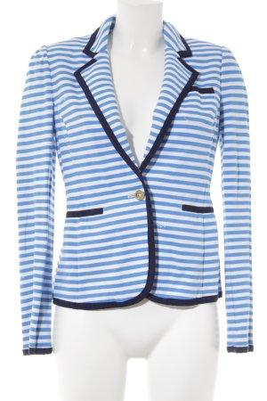 Tweedblazer neonblau-weiß Schriftzug gedruckt Casual-Look