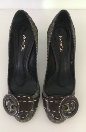 Paco Gil Mary Jane pumps donkerbruin Textielvezel