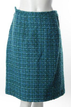 Jupe en tweed vert-bleu clair Motif de tissage style décontracté