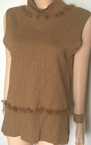 Escada Knitted Twin Set light brown-camel cashmere