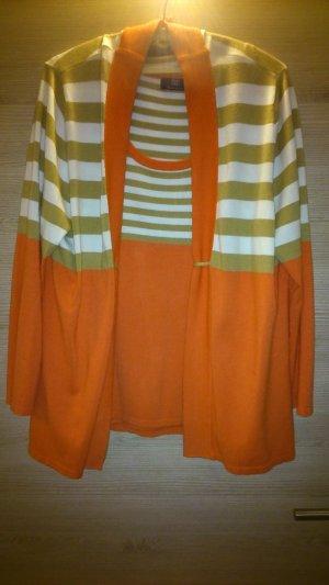 Gebreide twin set wit-oranje