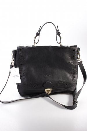 Twin-Set Handtasche Laser Leather Medium Top Handle Black Lochmuster