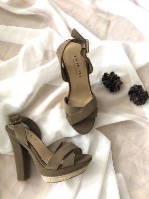 Twin set Platform Sandals grey brown-taupe suede
