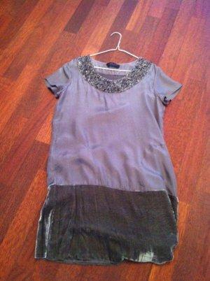 Twin Set Kleid Bluse Shirt Tunika * grau Samt mit Palietten * Gr. XS