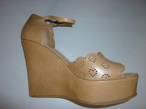 TWIN-SET Leder Sandalen beige