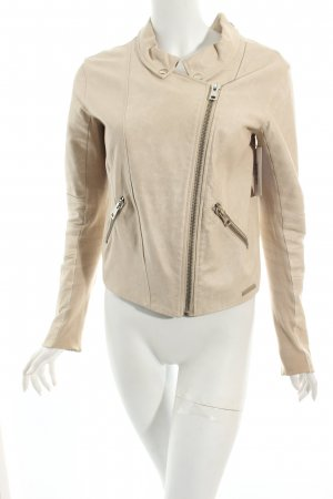 Twin set Lederjacke creme Materialmix-Look