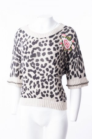 TWIN-SET - Leichter Strickpullover mit Animalprint Beige