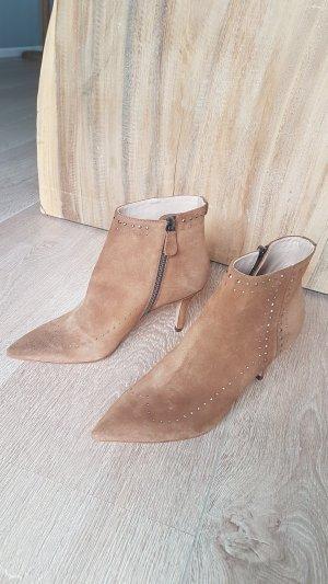 TWIN SET SIMONA BARBIERI ankle boots stiefel wildleder nieten braun gr.38 neu