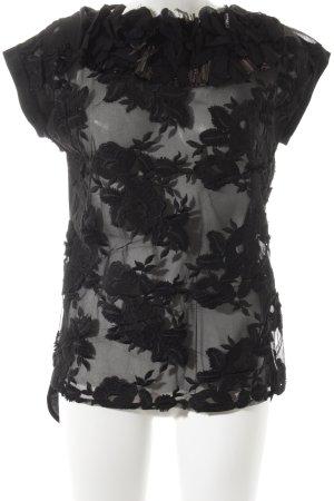 Twin-Set Simona Barbieri Kurzarm-Bluse schwarz Blumenmuster extravaganter Stil