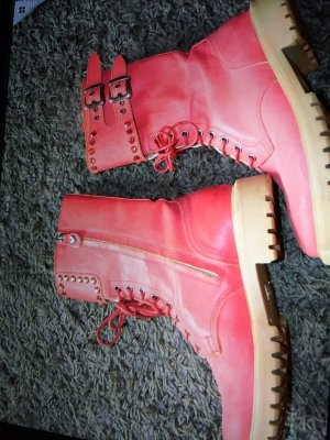 TwinSet Simona Barbieri Ankle Boots brick red leather