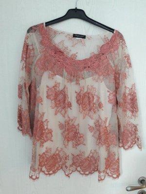 Twin-Set Simona Barbieri Top di merletto rosa antico-rosa pallido