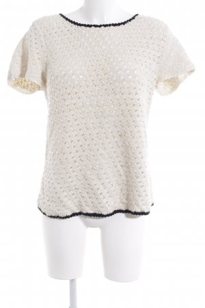 Twin-Set Simona Barbieri Knitted Jumper oatmeal-black weave pattern casual look