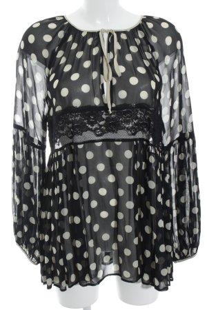 Twin-Set Simona Barbieri Tunikabluse schwarz-creme Punktemuster Elegant