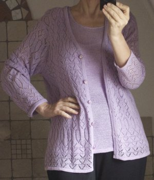 Knitted Twin Set mauve-dusky pink cotton