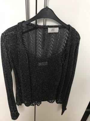 Alba Moda Knitted Twin Set black-silver-colored