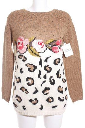 Twin set Strickpullover weiß-hellbraun florales Muster Street-Fashion-Look