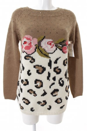 Twin set Strickpullover weiß-hellbraun florales Muster Street-Fashion-Look