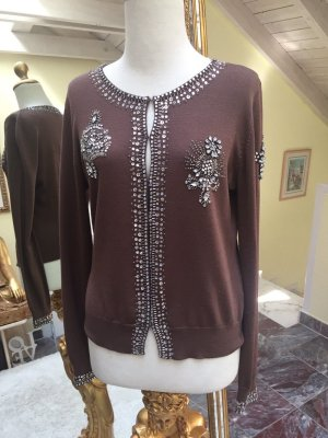 Twin Set, Twinset, Strickjacke mit Steinen und Pailletten in Gr. M