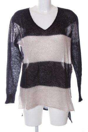 Twin set V-Ausschnitt-Pullover schwarz-wollweiß Streifenmuster Casual-Look