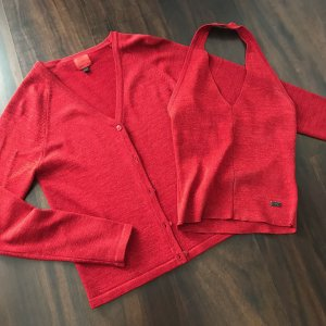 Jacqueline De Young Knitted Twin Set red
