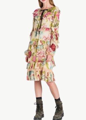 Twinset milano Blumen Kleid geblümt Volants Rüschen Spitze NP 225