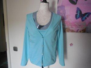 Twinset/Shirt hellblau mit Pailetten von Heine