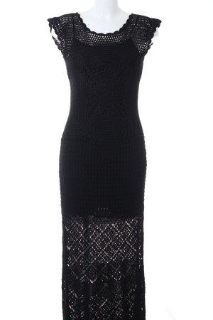 TwinSet Simona Barbieri Vestido de tubo negro Patrón de tejido look Boho