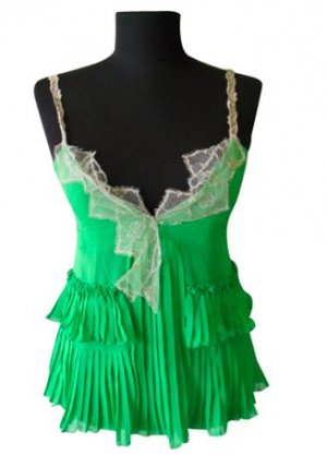 TwinSet Simona Barbieri Empire Waist Top green silk