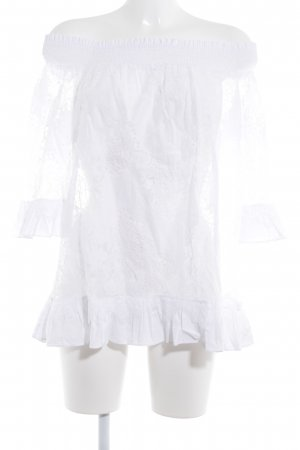TwinSet Simona Barbieri Spitzenbluse weiß florales Muster Romantik-Look