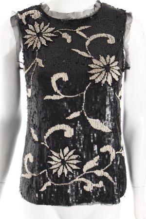TwinSet Simona Barbieri Top schwarz-creme florales Muster extravaganter Stil
