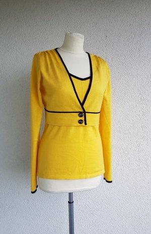 Gebreide twin set geel-zwart