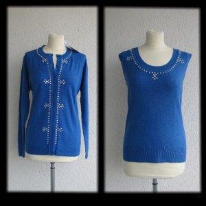 Ensemble en tricot bleu-bleu foncé polyamide