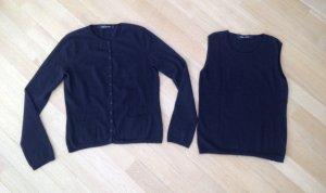 Iris von Arnim Twin set in maglia nero-talpa Cachemire