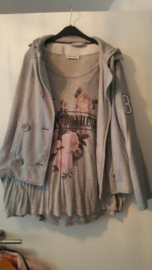 Ulla Popken Twin set grigio chiaro-rosa chiaro