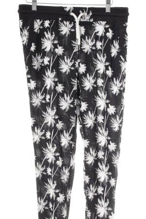 Twintip Harem Pants black-white flower pattern casual look