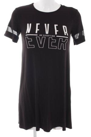 Twintip Jerseykleid schwarz-weiß Schriftzug gedruckt sportlicher Stil