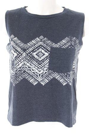 Twintip Tanktop weiß-dunkelblau abstraktes Muster Casual-Look