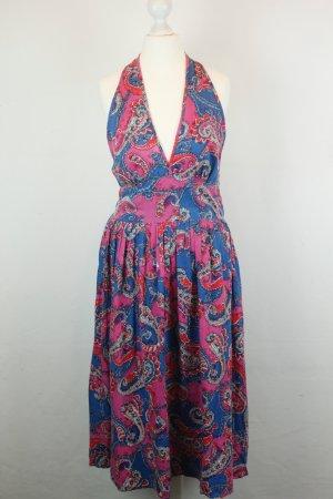 Twist & Tango Kleid Midikleid Neckholderkleid Gr. 38 blau pink ethno Ornamente