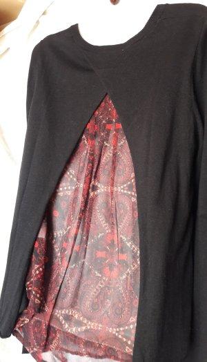 Two in One Shirt Blusen Pullover/Tunika dünn mit Rückendetails Gr. M/L