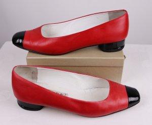 Twotone Pumps Schuhe Fabiani Größe 39 Made in Italy Schwarz Rot Leder Lack Italien Ballerina