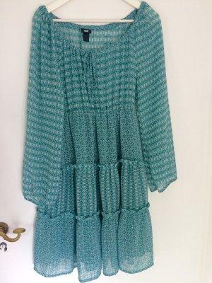 Babydoll-jurk wit-cadet blauw Polyester