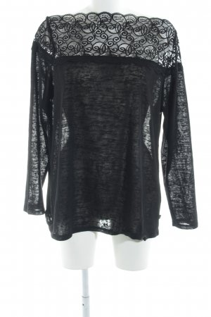 U-Boot-Shirt schwarz florales Muster Elegant