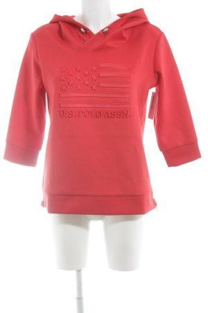 U.s. polo assn. Jersey con capucha rojo-color plata estilo deportivo