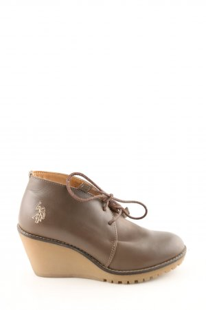 U.s. polo assn. Wedge Booties brown-nude themed print business style